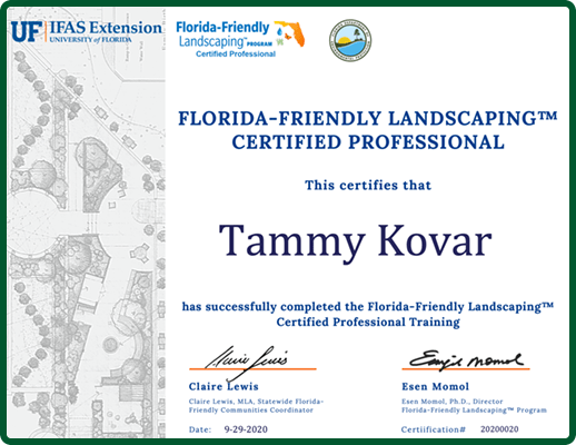 Tammy Kovar - Florida Friendly Landscaping Certified Professional